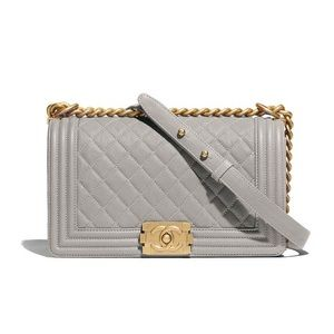 Chanel Boy Bag New Medium in Gray w Gold Hardware
